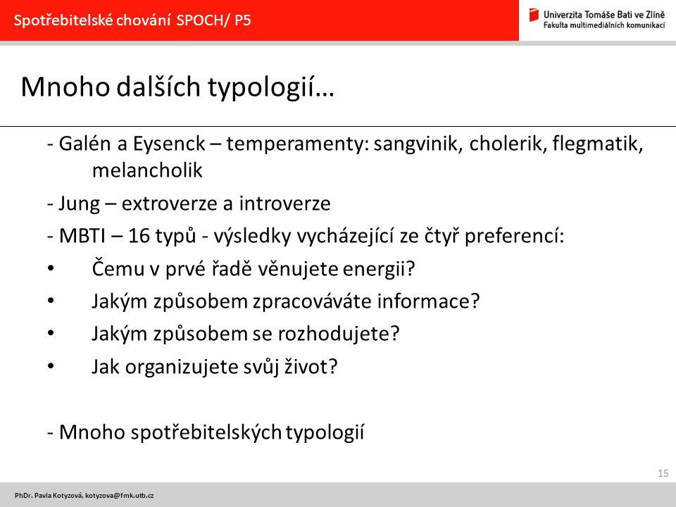 Mnoho dalších typologií…