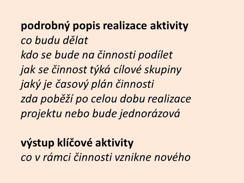 podrobný popis realizace aktivity