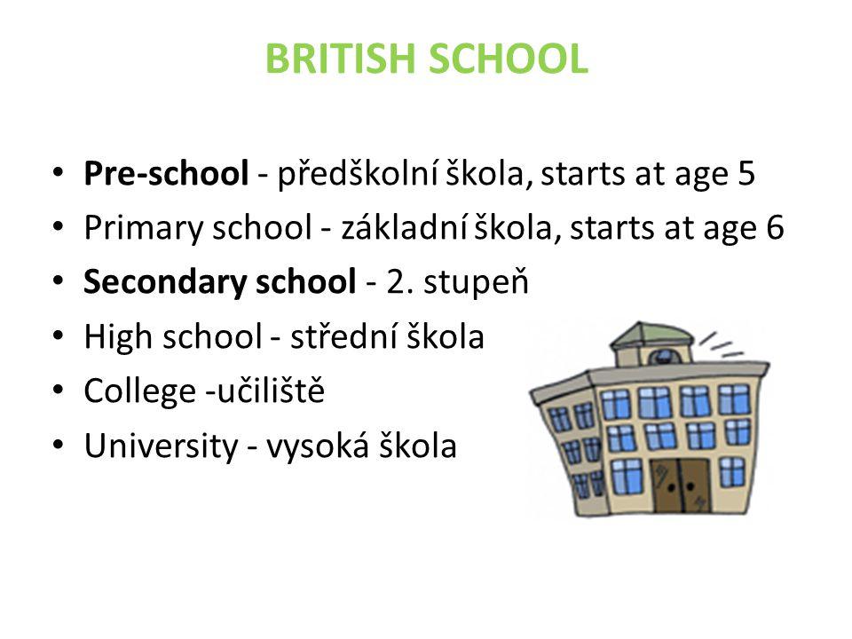 BRITISH SCHOOL Pre-school - předškolní škola, starts at age 5