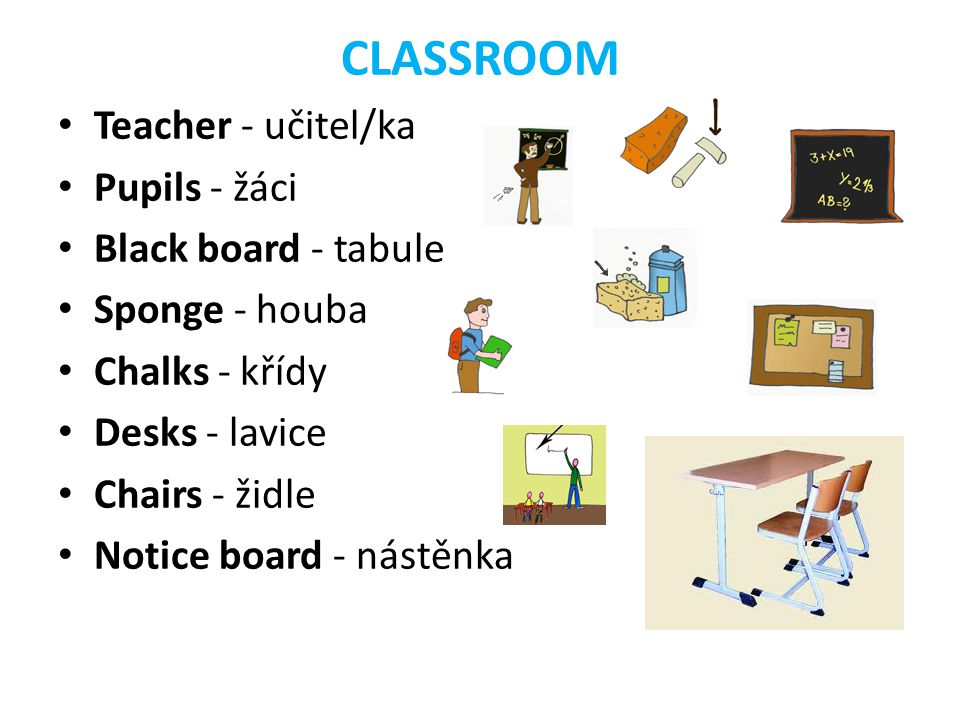 CLASSROOM Teacher - učitel/ka Pupils - žáci Black board - tabule