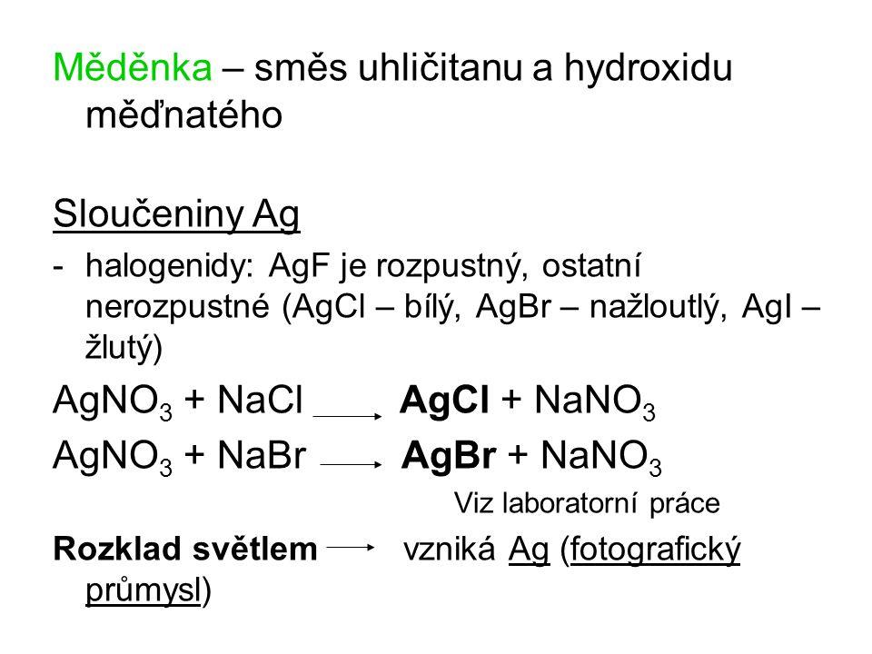 Měděnka – směs uhličitanu a hydroxidu měďnatého
