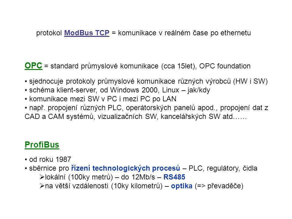 OPC = standard průmyslové komunikace (cca 15let), OPC foundation