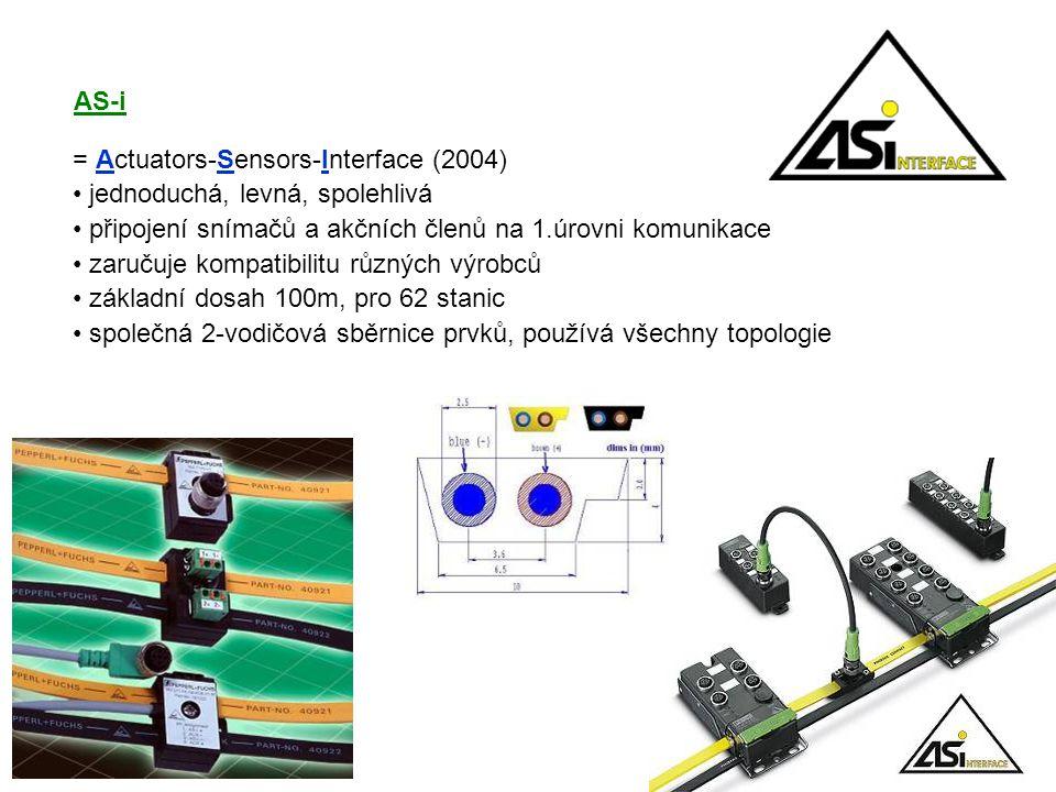 AS-i = Actuators-Sensors-Interface (2004) jednoduchá, levná, spolehlivá. připojení snímačů a akčních členů na 1.úrovni komunikace.