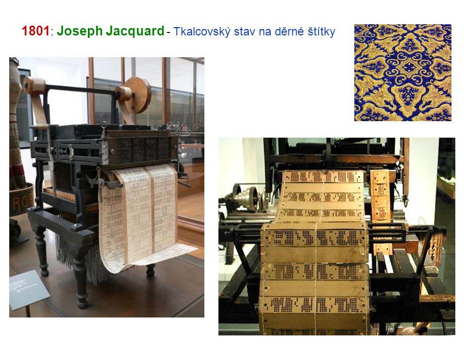 1801: Joseph Jacquard - Tkalcovský stav na děrné štítky