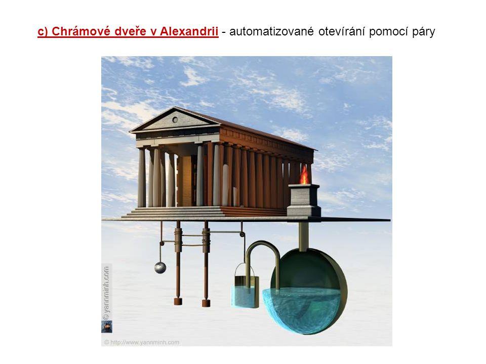 c) Chrámové dveře v Alexandrii - automatizované otevírání pomocí páry
