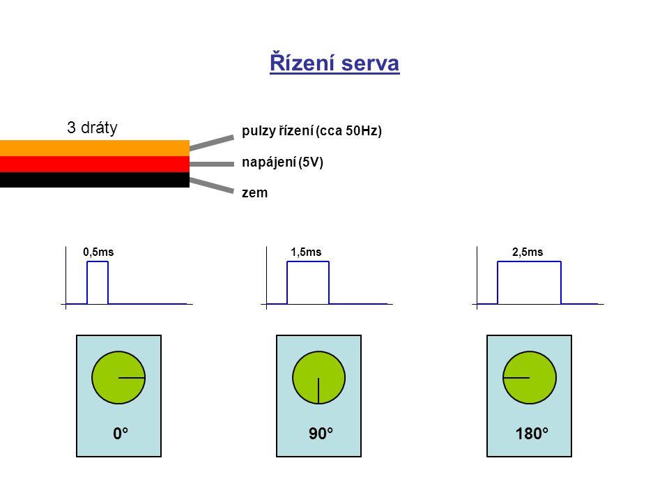 Řízení serva 3 dráty 0° 90° 180° pulzy řízení (cca 50Hz) napájení (5V)