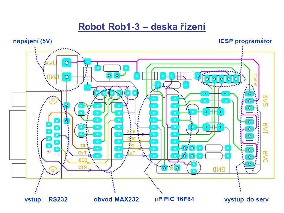 Robot Rob1-3 – deska řízení