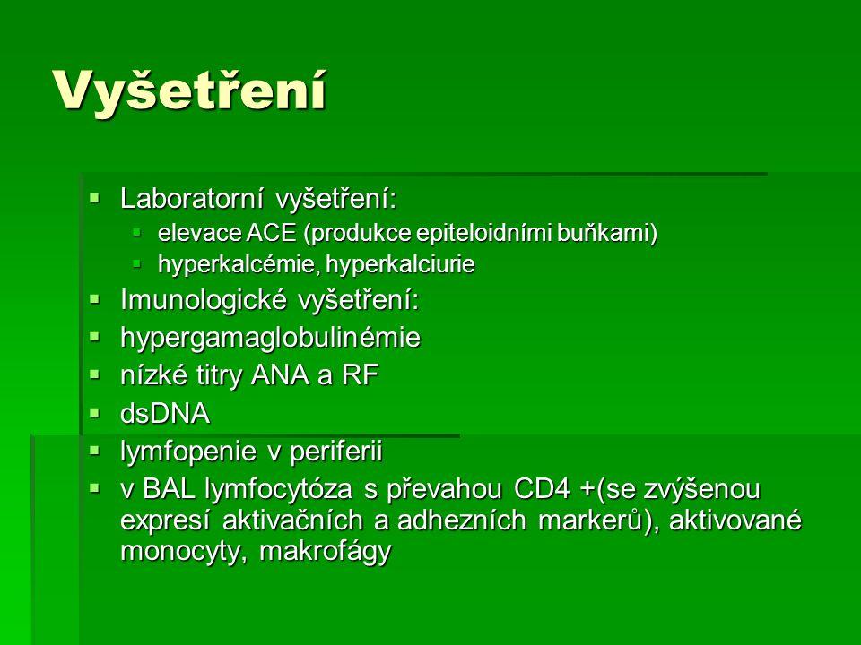 Vyšetření Laboratorní vyšetření: Imunologické vyšetření: