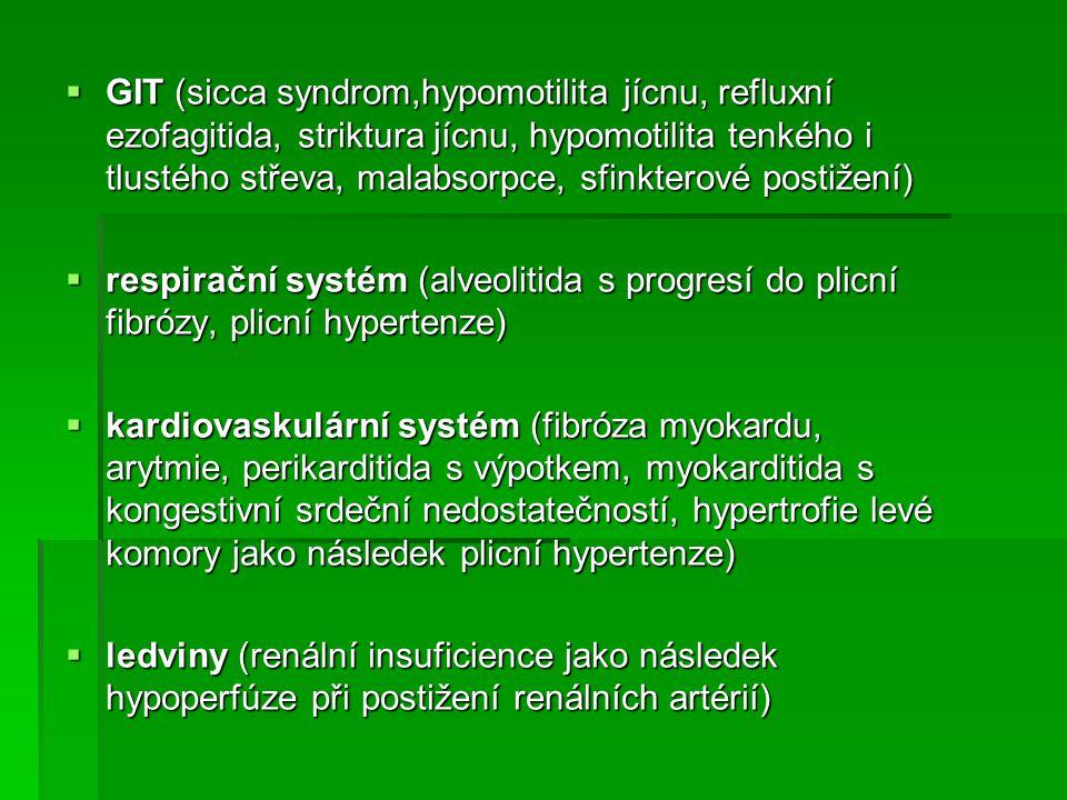 GIT (sicca syndrom,hypomotilita jícnu, refluxní ezofagitida, striktura jícnu, hypomotilita tenkého i tlustého střeva, malabsorpce, sfinkterové postižení)