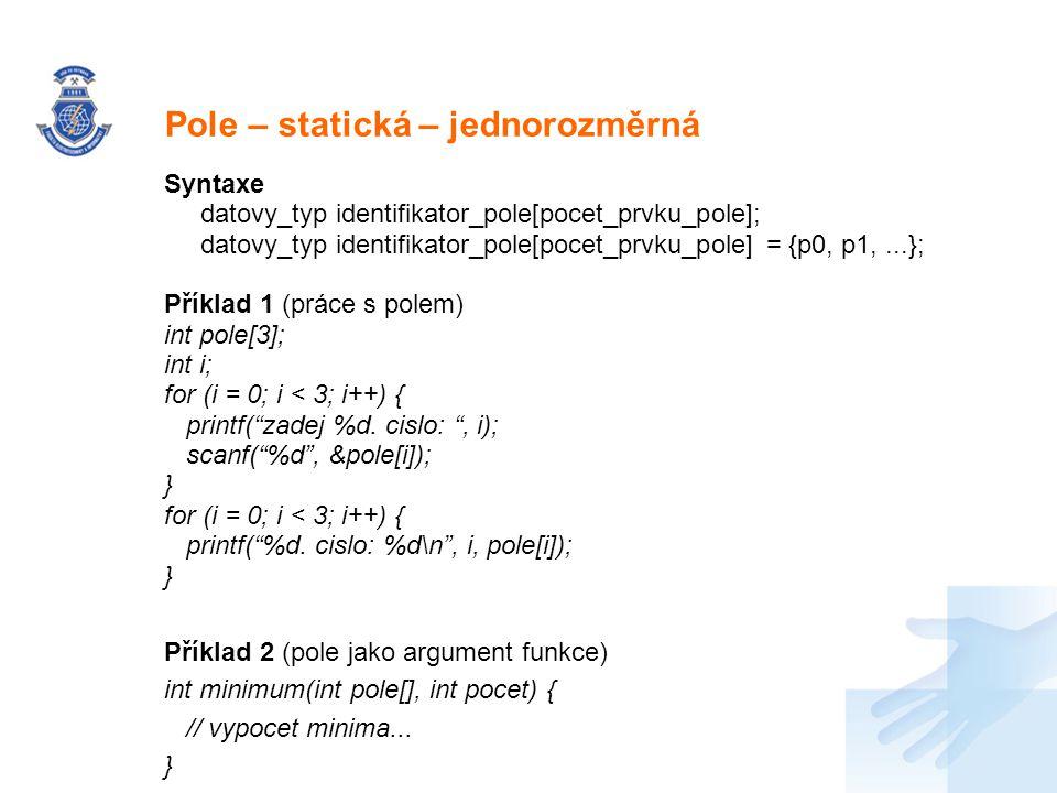 Pole – statická – jednorozměrná