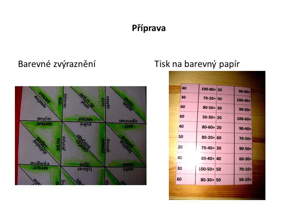 Příprava Barevné zvýraznění Tisk na barevný papír
