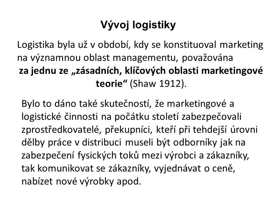 Vývoj logistiky Logistika byla už v období, kdy se konstituoval marketing na významnou oblast managementu, považována.