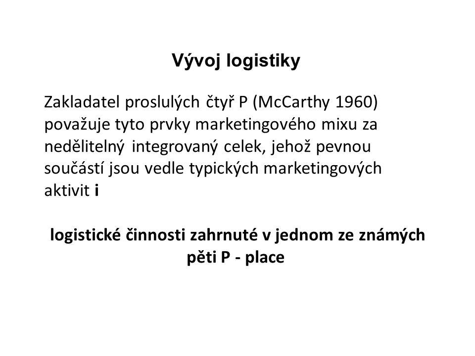 logistické činnosti zahrnuté v jednom ze známých pěti P - place