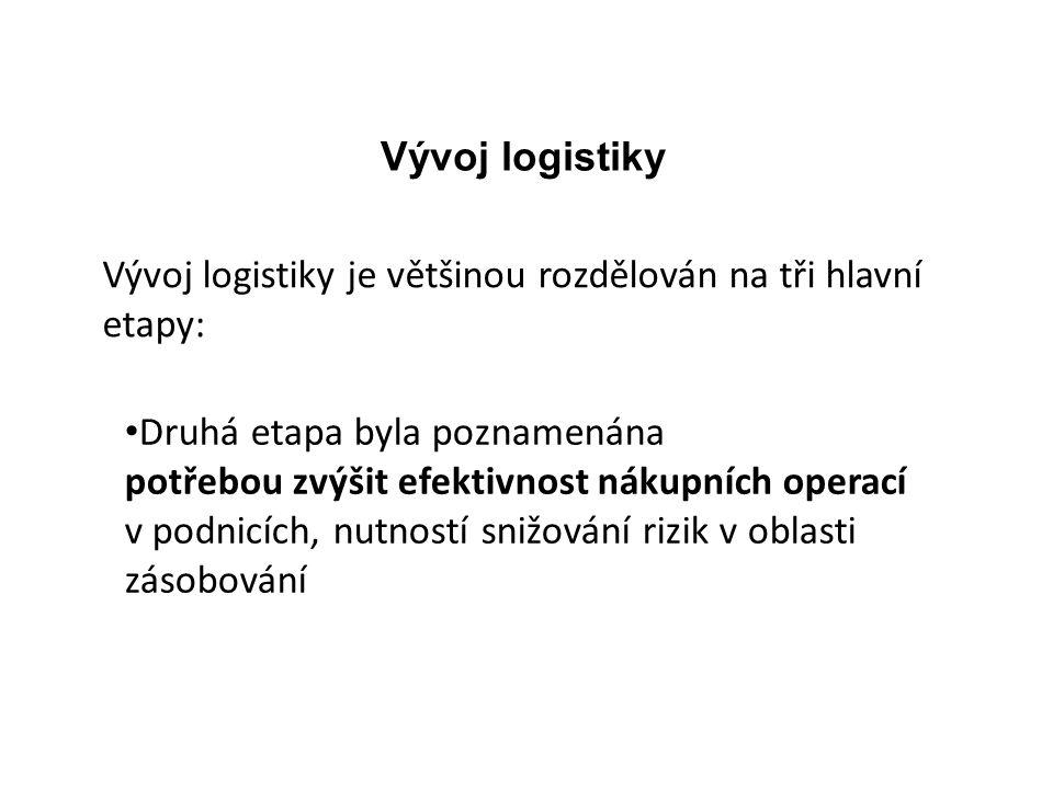 Vývoj logistiky Vývoj logistiky je většinou rozdělován na tři hlavní etapy: Druhá etapa byla poznamenána.