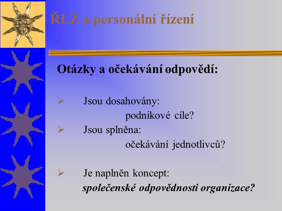 ŘLZ a personální řízení