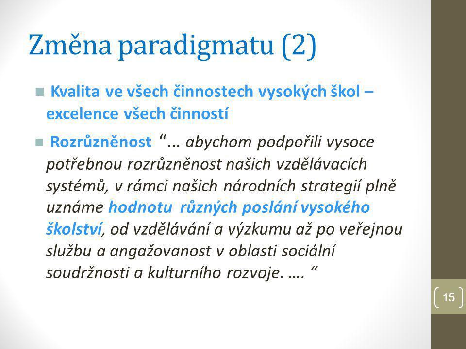 Změna paradigmatu (2) Kvalita ve všech činnostech vysokých škol – excelence všech činností.
