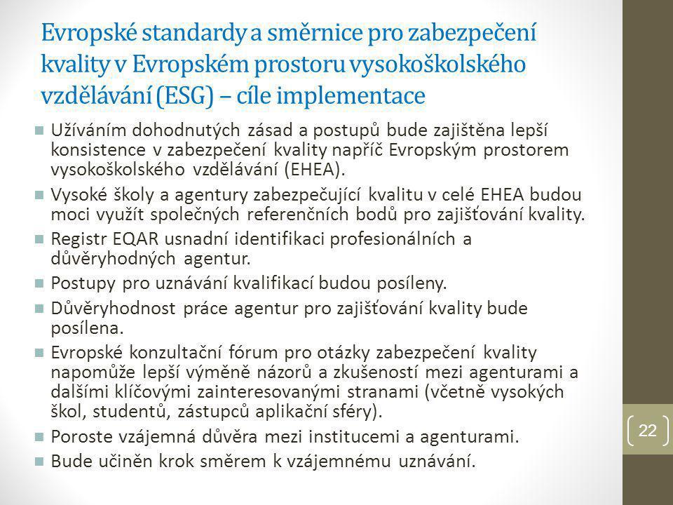 Evropské standardy a směrnice pro zabezpečení kvality v Evropském prostoru vysokoškolského vzdělávání (ESG) – cíle implementace