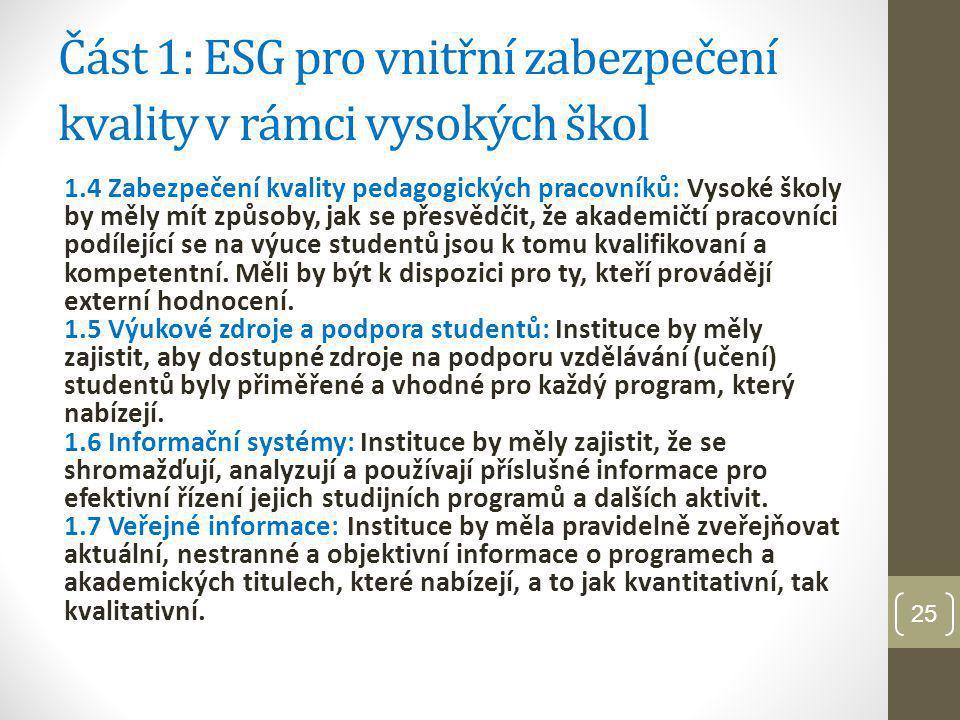 Část 1: ESG pro vnitřní zabezpečení kvality v rámci vysokých škol