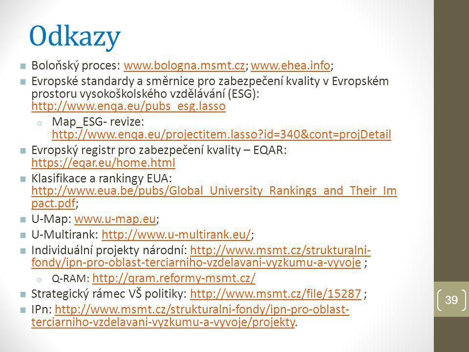 Odkazy Boloňský proces: www.bologna.msmt.cz; www.ehea.info;