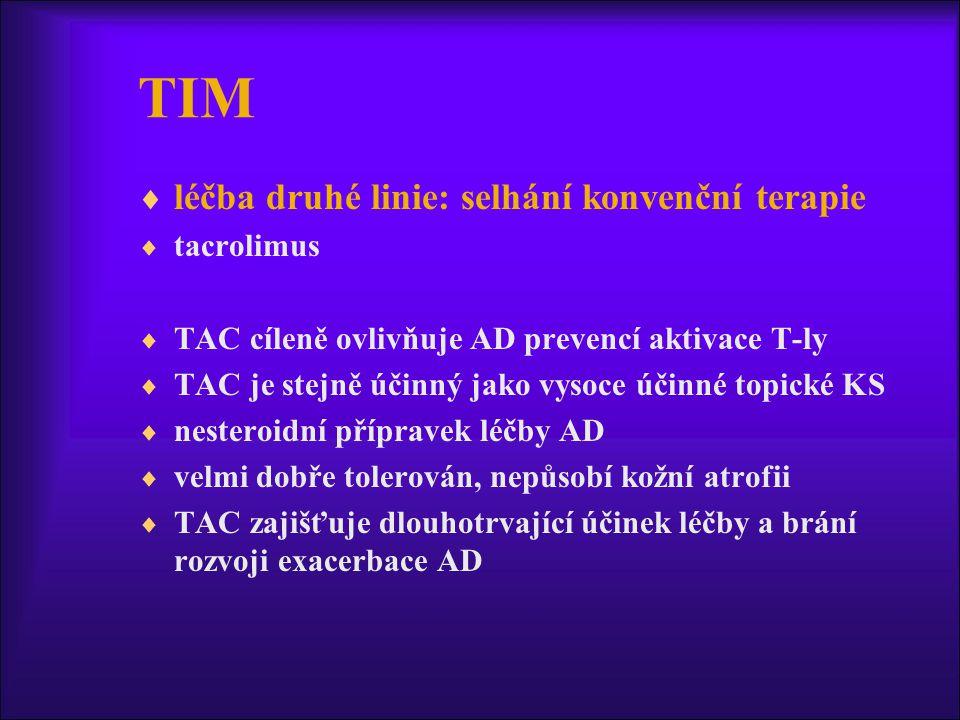 TIM léčba druhé linie: selhání konvenční terapie tacrolimus