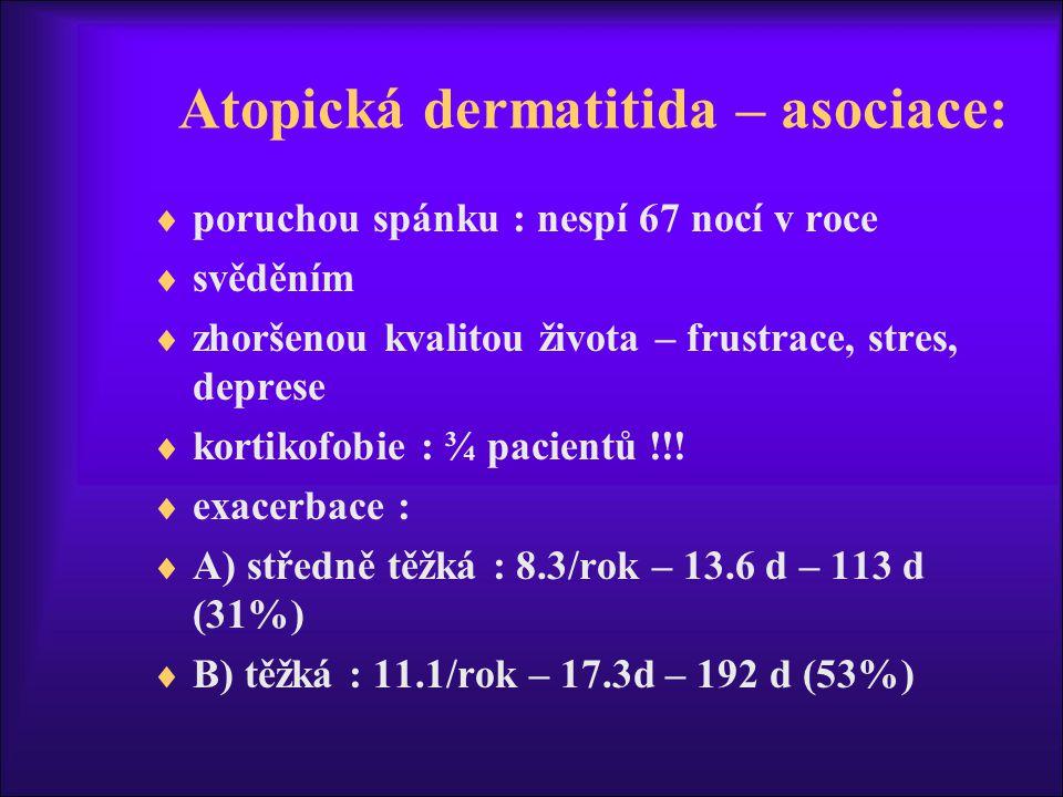 Atopická dermatitida – asociace: