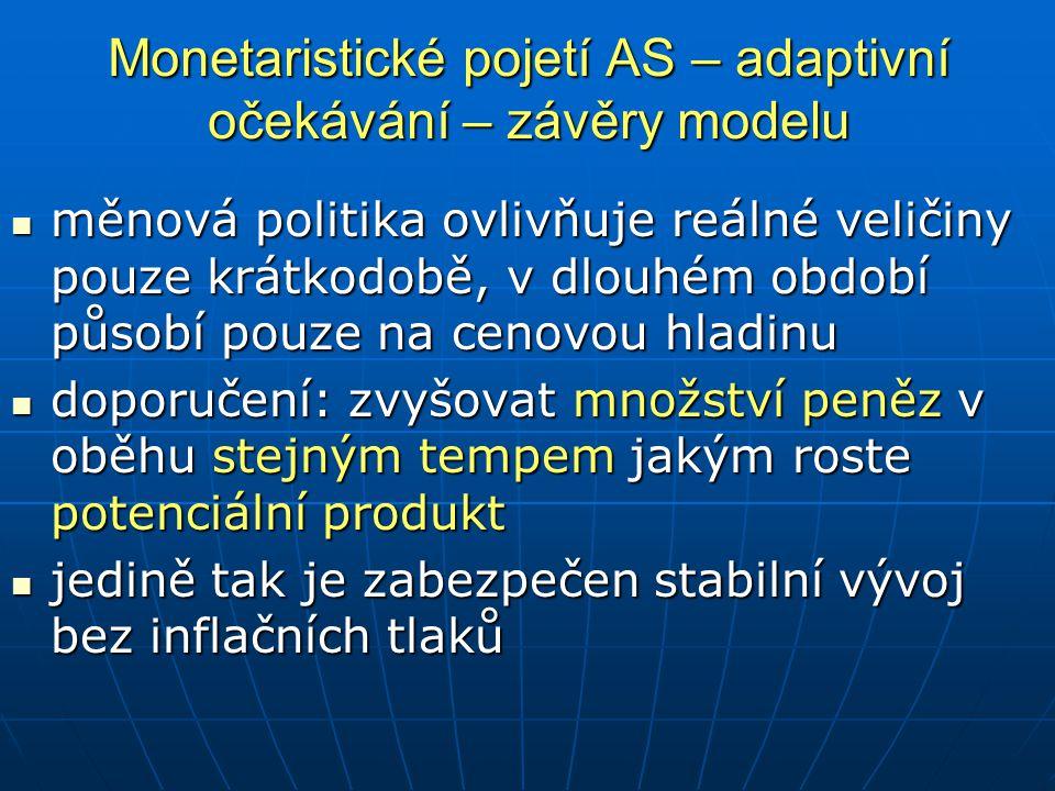 Monetaristické pojetí AS – adaptivní očekávání – závěry modelu