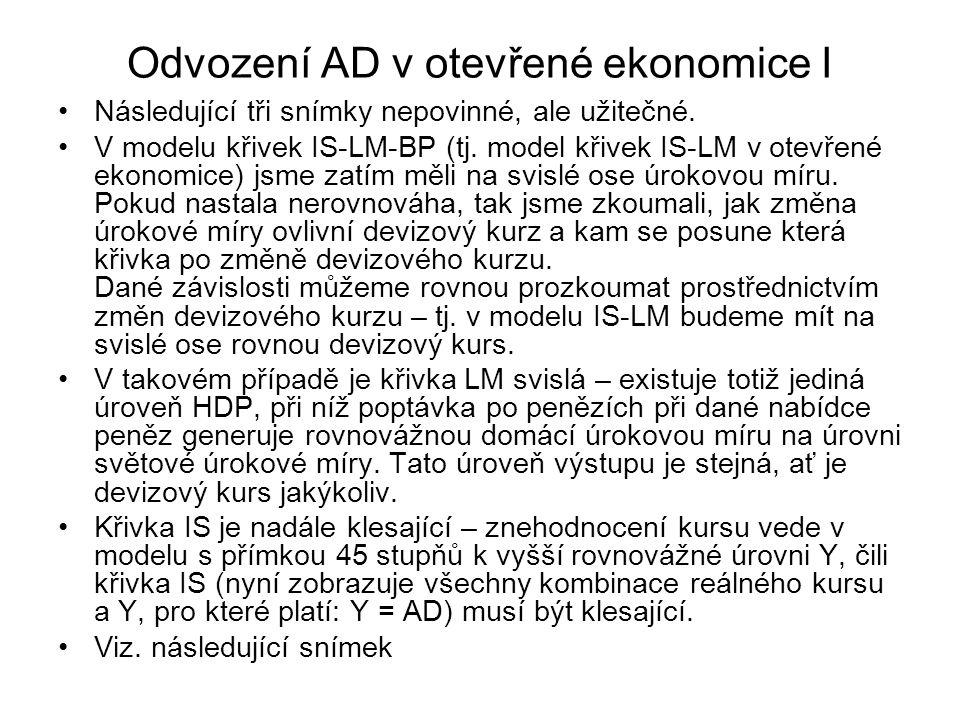 Odvození AD v otevřené ekonomice I
