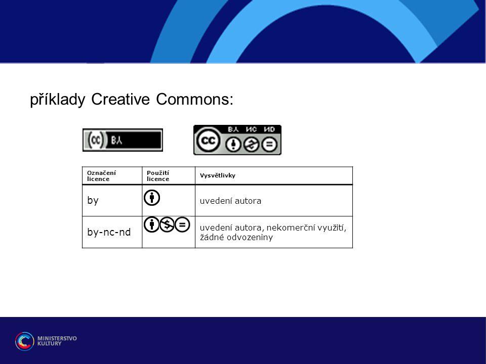 r příklady Creative Commons: by by-nc-nd uvedení autora