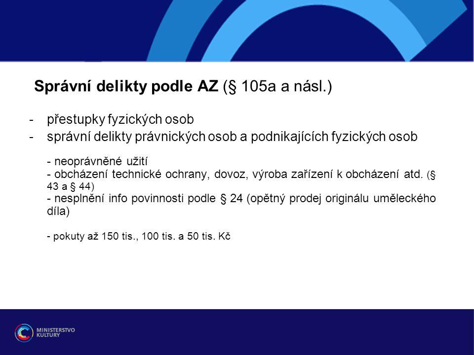 Správní delikty podle AZ (§ 105a a násl.)