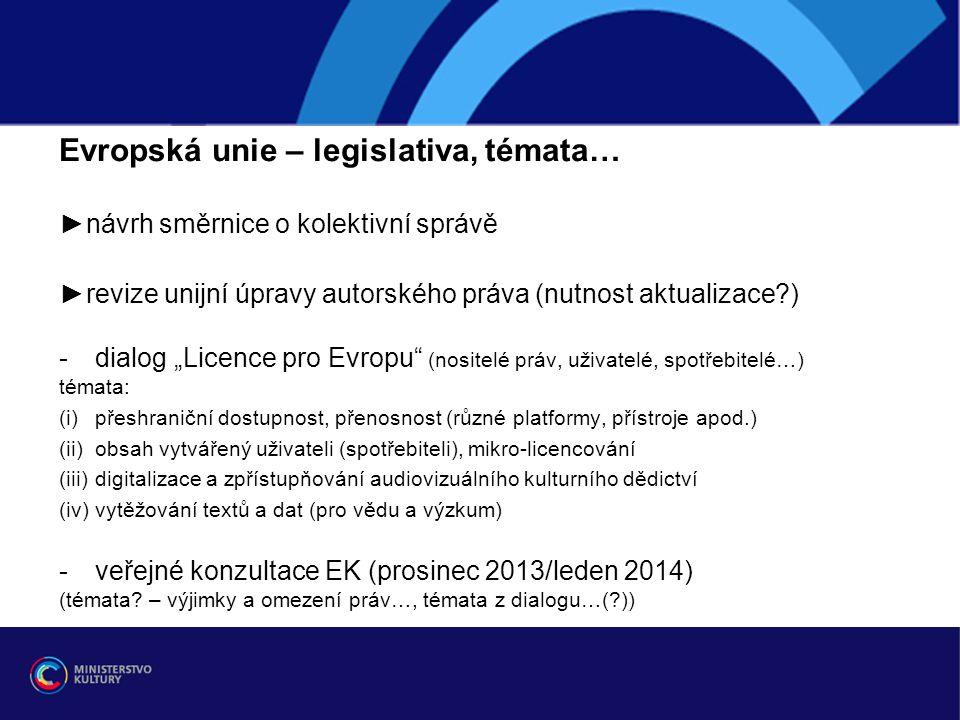 Evropská unie – legislativa, témata…