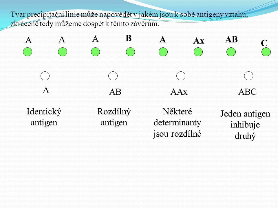 Některé determinanty jsou rozdílné Jeden antigen inhibuje druhý
