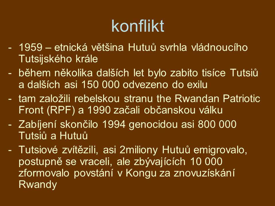 konflikt 1959 – etnická většina Hutuů svrhla vládnoucího Tutsijského krále.