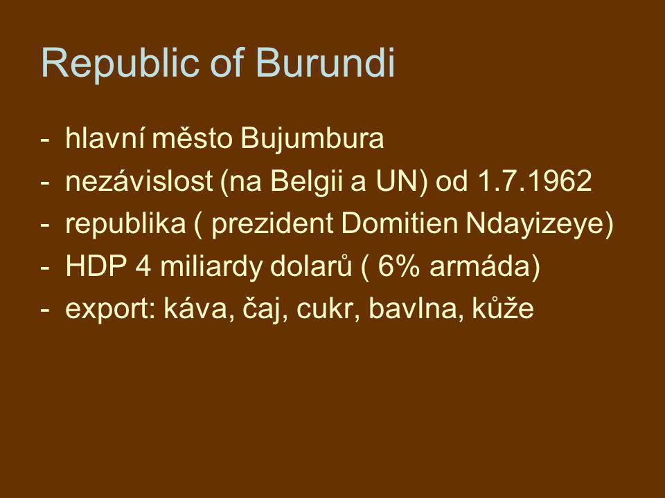 Republic of Burundi hlavní město Bujumbura