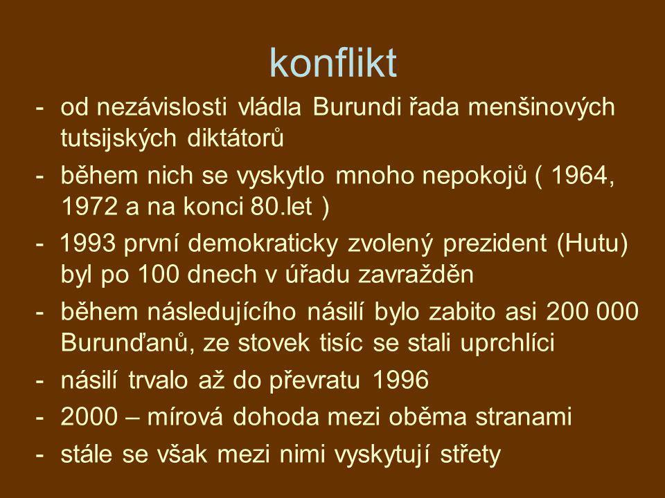 konflikt od nezávislosti vládla Burundi řada menšinových tutsijských diktátorů.