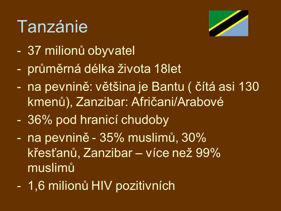 Tanzánie 37 milionů obyvatel průměrná délka života 18let