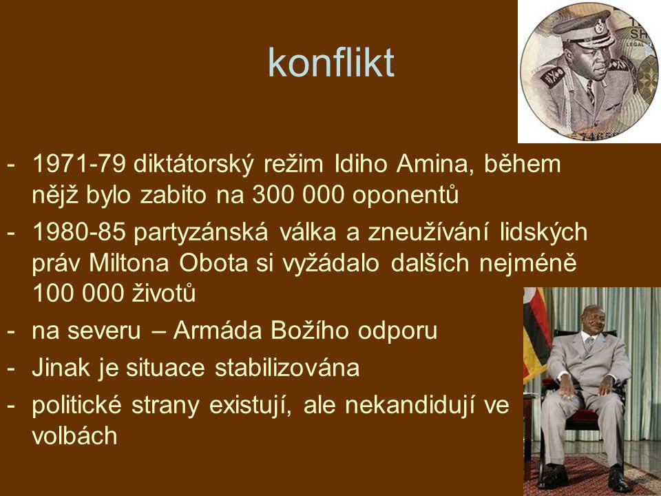 konflikt 1971-79 diktátorský režim Idiho Amina, během nějž bylo zabito na 300 000 oponentů.