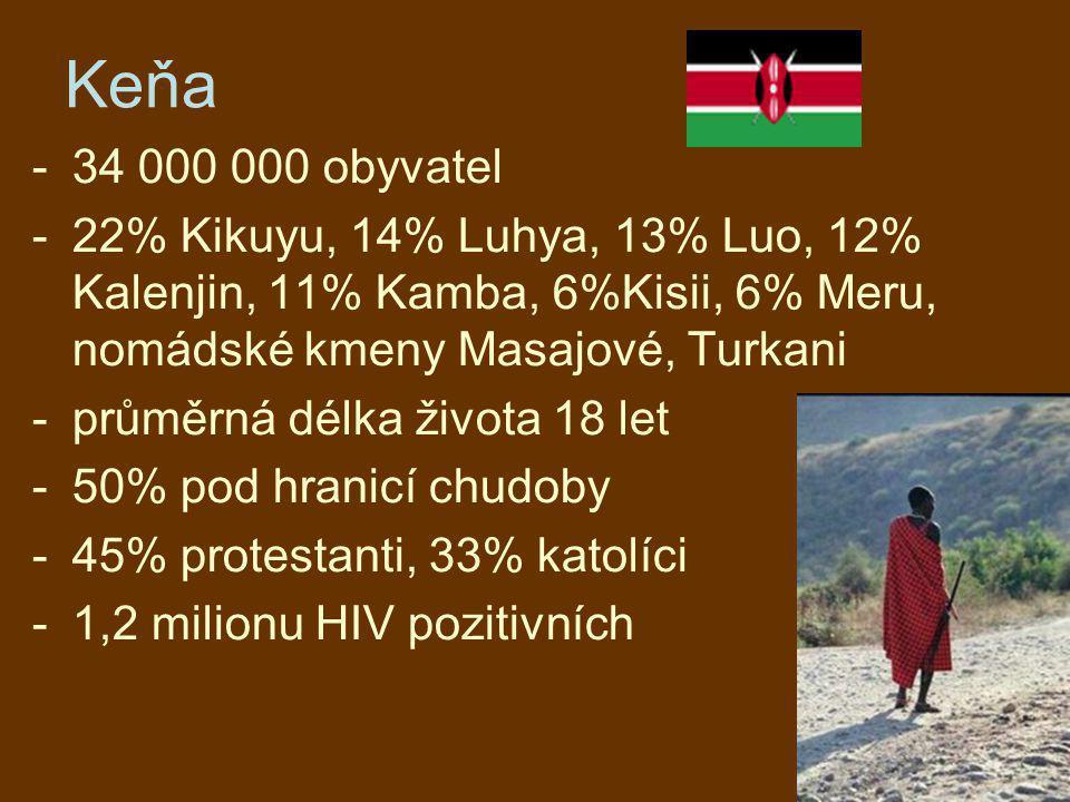 Keňa 34 000 000 obyvatel. 22% Kikuyu, 14% Luhya, 13% Luo, 12% Kalenjin, 11% Kamba, 6%Kisii, 6% Meru, nomádské kmeny Masajové, Turkani.
