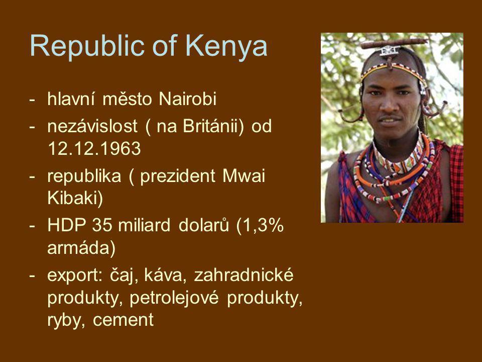 Republic of Kenya hlavní město Nairobi