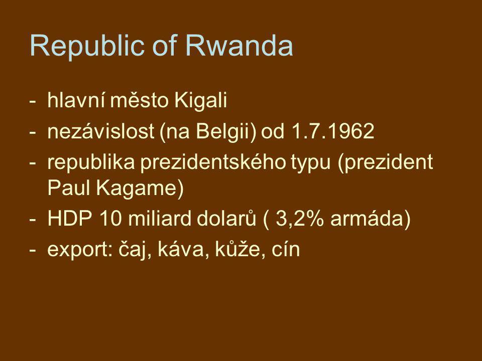 Republic of Rwanda hlavní město Kigali