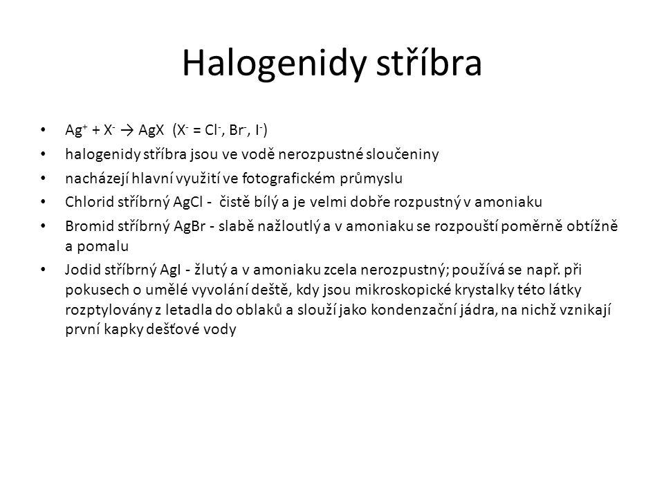 Halogenidy stříbra Ag+ + X- → AgX (X- = Cl-, Br-, I-)