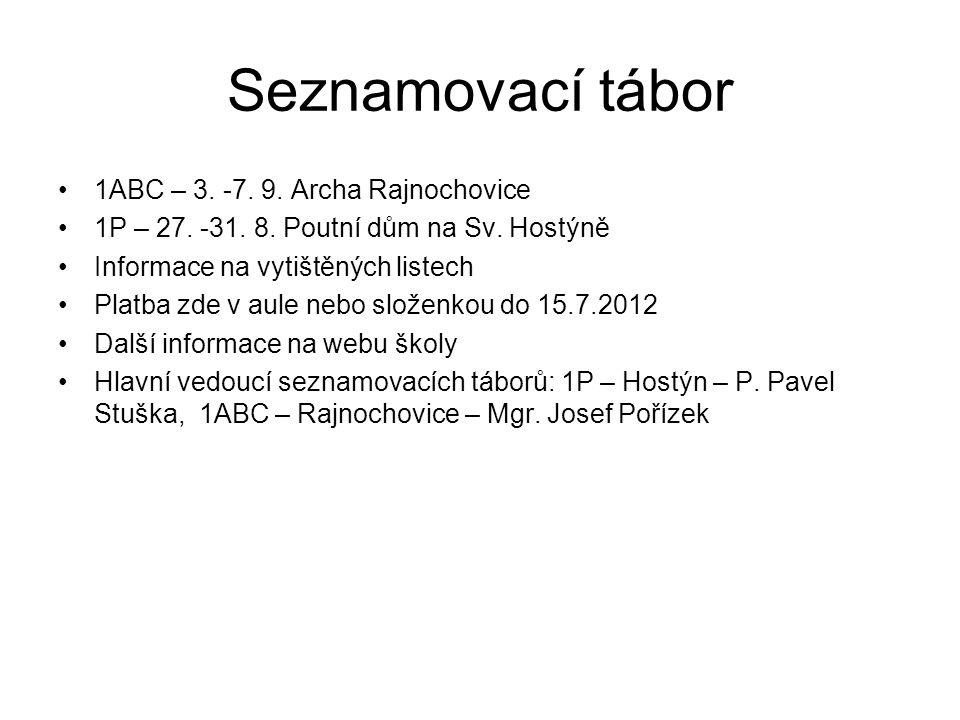 Seznamovací tábor 1ABC – 3. -7. 9. Archa Rajnochovice