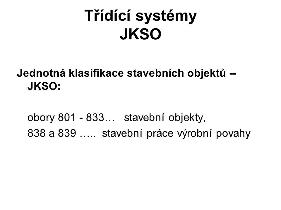Třídící systémy JKSO Jednotná klasifikace stavebních objektů -- JKSO: