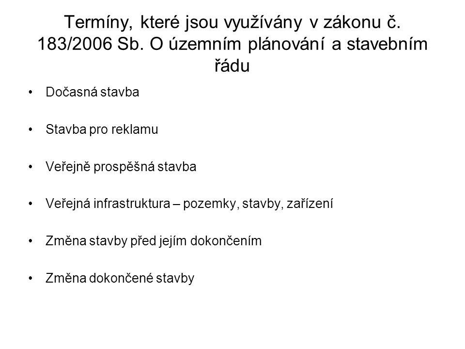 Termíny, které jsou využívány v zákonu č. 183/2006 Sb