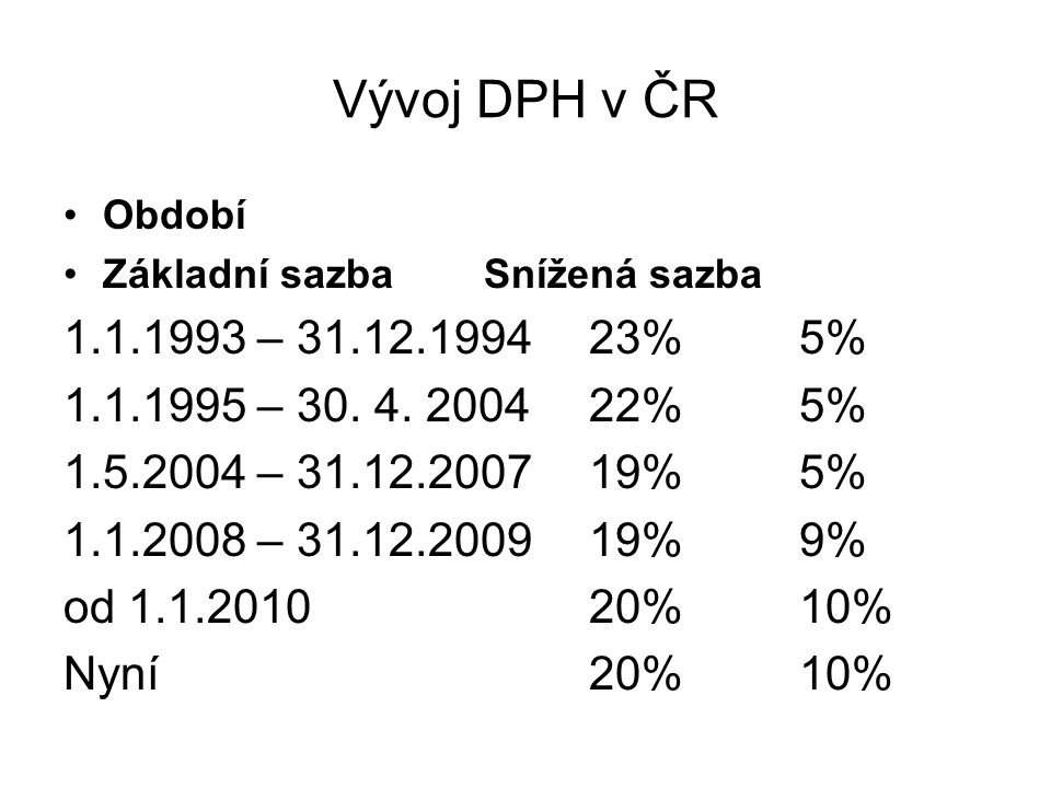 Vývoj DPH v ČR Období. Základní sazba Snížená sazba. 1.1.1993 – 31.12.1994 23% 5% 1.1.1995 – 30. 4. 2004 22% 5%