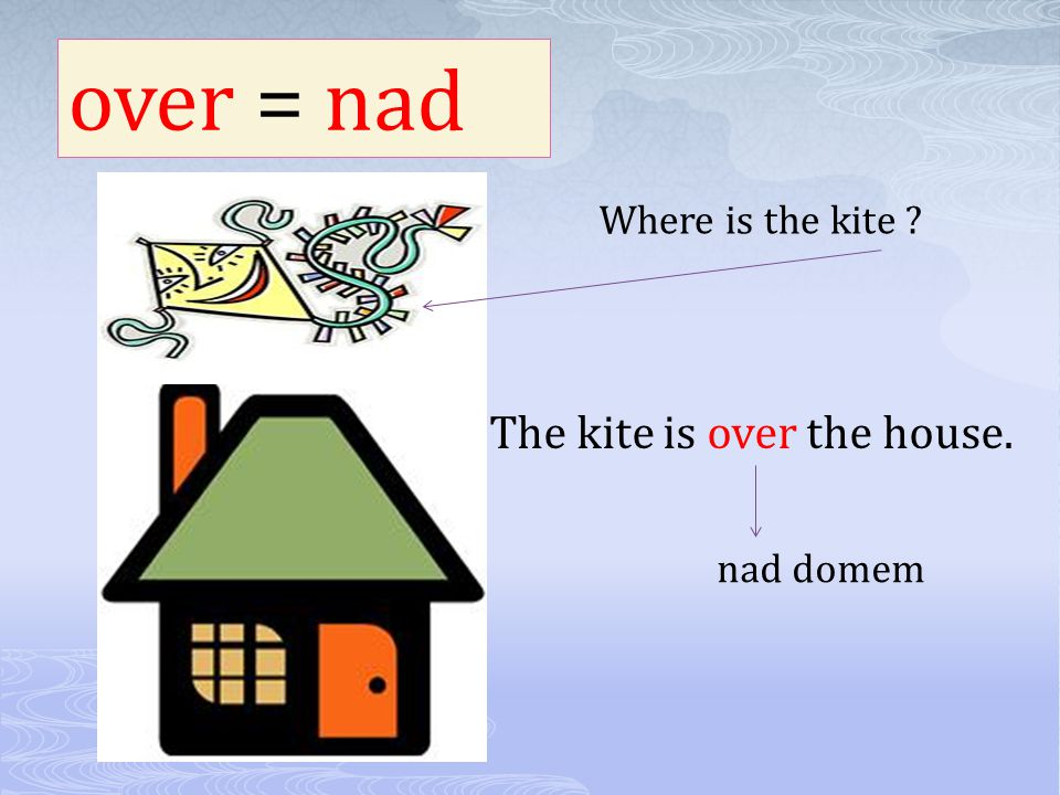 over = nad Where is the kite The kite is over the house. nad domem