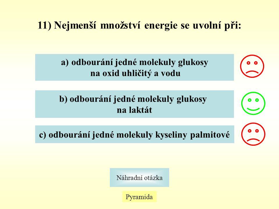 11) Nejmenší množství energie se uvolní při: