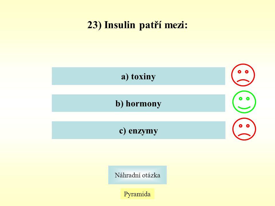 23) Insulin patří mezi: a) toxiny b) hormony c) enzymy Náhradní otázka