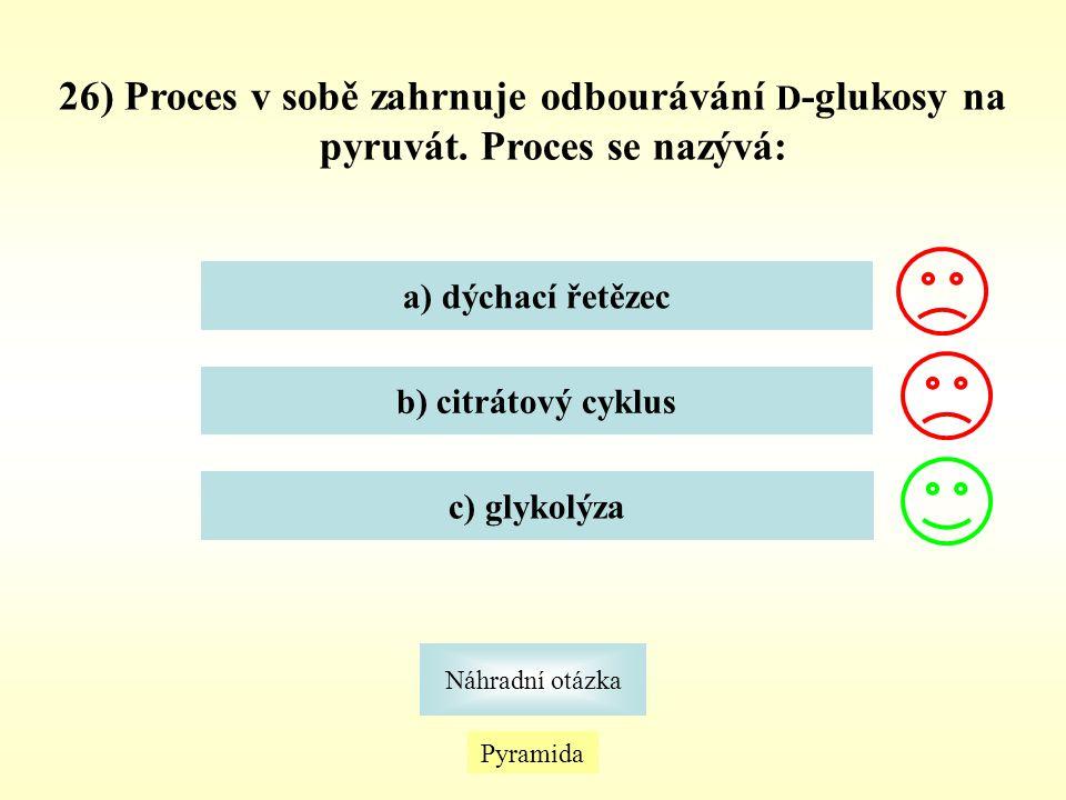26) Proces v sobě zahrnuje odbourávání D-glukosy na pyruvát