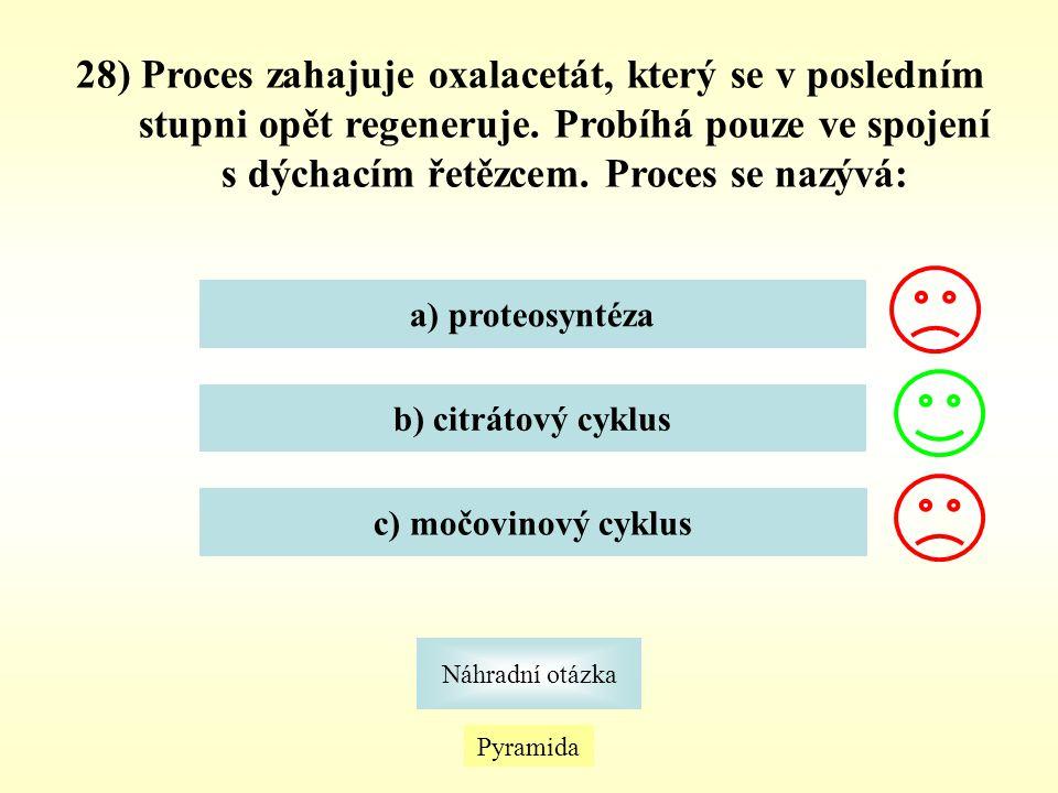 28) Proces zahajuje oxalacetát, který se v posledním stupni opět regeneruje. Probíhá pouze ve spojení s dýchacím řetězcem. Proces se nazývá: