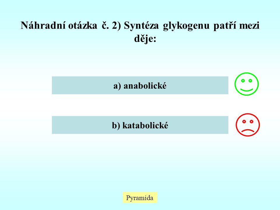 Náhradní otázka č. 2) Syntéza glykogenu patří mezi děje: